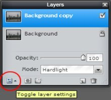 layers palette in Pixlr