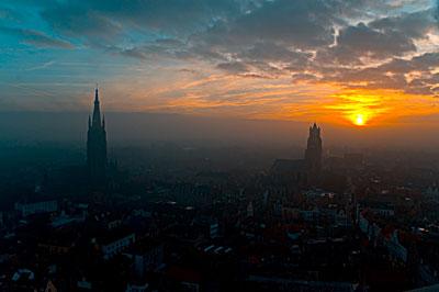 sunset over Bruges