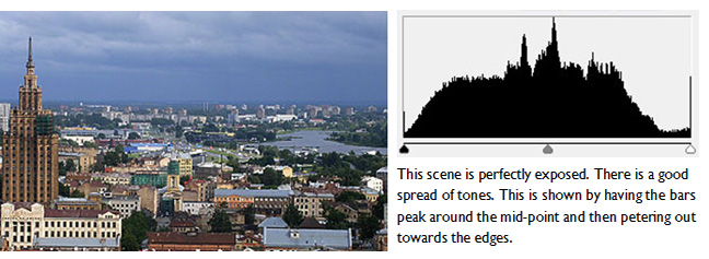 photography basics - the camera histogram. Example using a good exposure