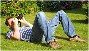 avoid camera shake by lying down on your back and bracing the camera