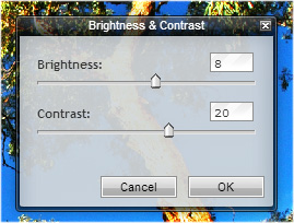 Pixlr dialog box - changinf brightness and contrast