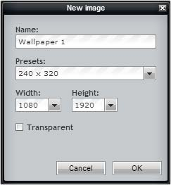 Using Pixlr - start image dialog box