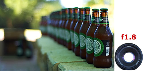 example of depth of field - f1.8 - using beer bottles as an example