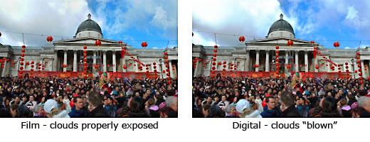 film vs digital - blown highlights in digital photography