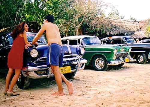 Cuba - cars on the beach