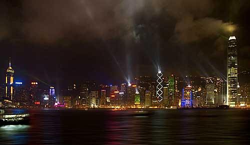 night time photograph of Hong Kong
