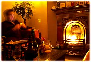 digital night photography - cosy fireplace