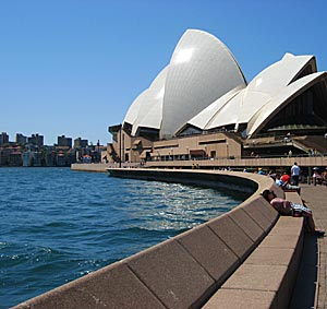 Sydney opera house with lead in lines