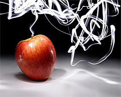 painting with light - light trails around an apple
