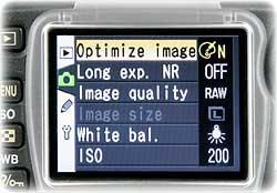 digital camera menu