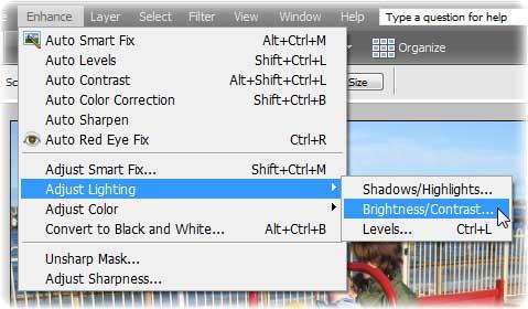 Photoshop elements screenshot - brightness