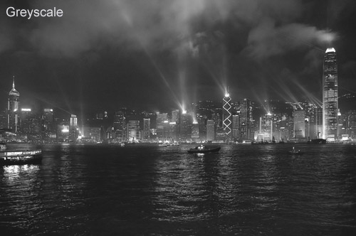 black and white photograph of Hong Kong Harbour - showing the benefits of using the channel mixer to convert from colour to black and white