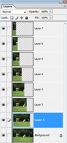 trick photography - multiplicity photos stacked in photoshop showing layers