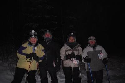 stopping to see the clear night ski